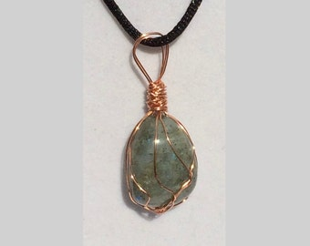 Labradorite Pendant, Handmade, Wire Wrapped Crystal (Copper Wire #4)