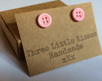 Pastel Pink Button Earrings   Handmade Jewellery   Gifts for Her