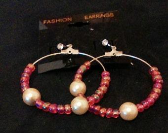 Item #026 Red N Pearl Dangle Earrings