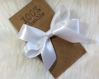 White Hairbow, Hairbow, Satin Hairbow, Simple Hairbow