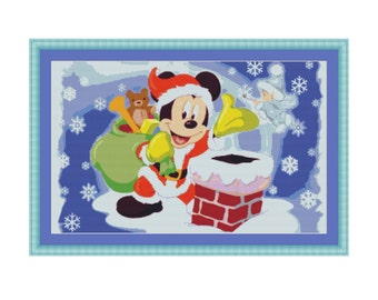 Christmas Cross Stitch Pattern, PDF counted cross stitch pattern,Walt Disney Christmas