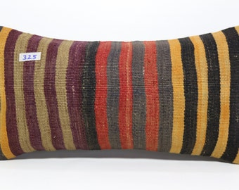 12x24 Multi Color Stripe Kilim Pillow Lumbar Pillow,Kilim Lumbar Pillow Cover 12x24 Decorative Pillow,Boho Pillow,Bed Pillow  SP3060-325