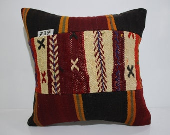 kilim patchwork pillow cover 16x16 pathcwork kilim cushion cover vintage kilim pillow cover throw pillow flat woven cushion cover SP4040-737