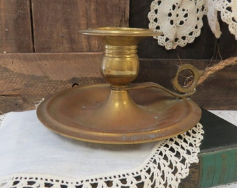 Brass Candlestick Candle Holder Chamber CandleStick Rustic Farmhouse Decor Aged Patina