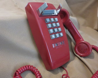 Sale/Bell System, Red push button with cord telephone, 1980's Vintage