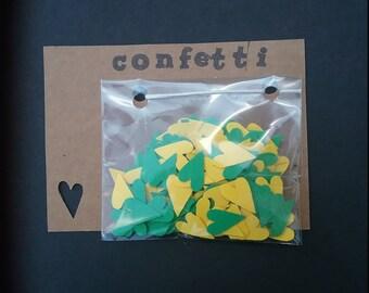 Confetti - Primitive hearts in green and gold