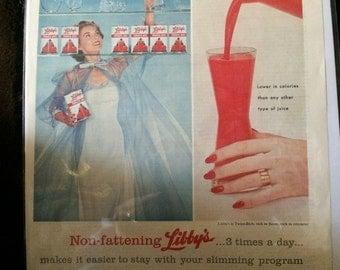 Vintage Ad Libby's Tomatoe Juice 1950's