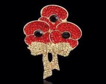 Remembrance Day 2016 Triple Poppy Bouquet Brooch