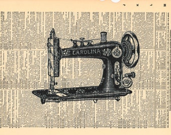 Vintage Sewing Machine Print | Dictionary Print | Dictionary Pages | Sewing Room Decor | Sewing Room Sign | Sewing Machine | Retro Sewing
