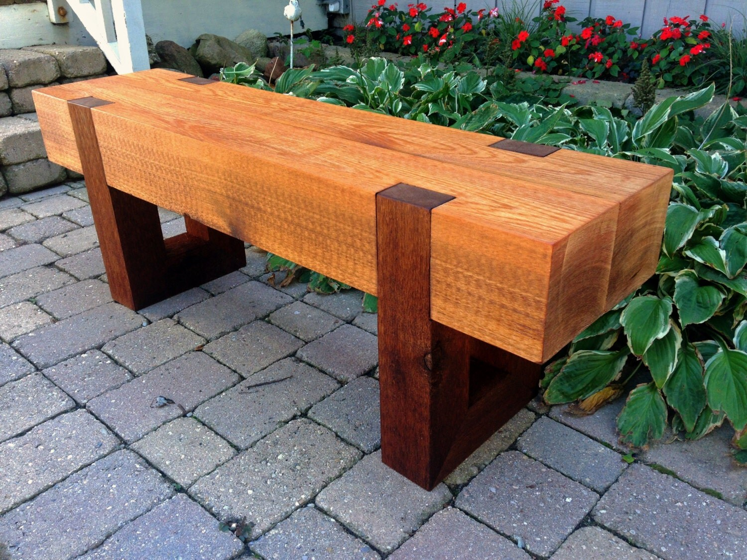 Wooden Patio Bench ~ Rustic wood bench outdoor patio garden