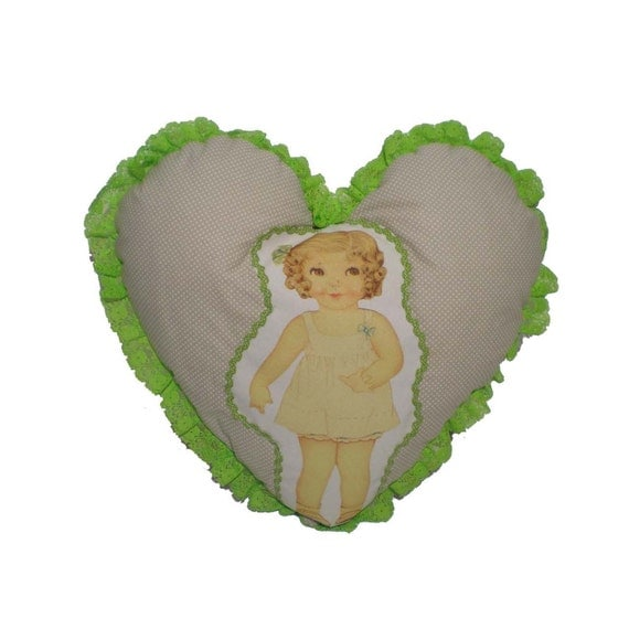 How To Make A Doll Decorative Pillow : Items similar to Heart-shaped pillow vintage doll-Decorative pillow-Valentines Day- Pillow ...
