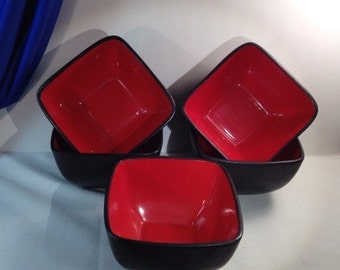 Modern Square red on black Bowls ~ pottery not signed.