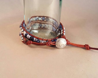 Sodalite and Silver leather wrap bracelet