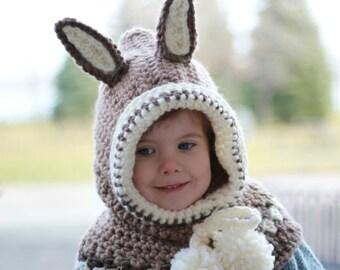 Crochet pattern, Patron de crochet –Ruby Rabbit Hooded Cowl Hood Hat (12/18 month - Toddler - Child – Teen- Adult sizes)