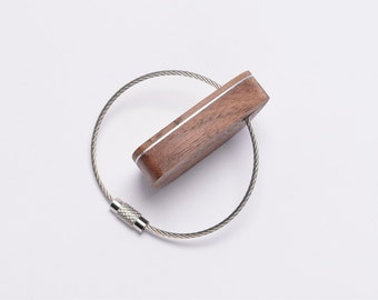 Wooden Wire Key Chain/Cable Key Chain - Walnut Wood & Aluminium Layers