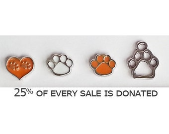 Floating Paw Print Charms - Add-on purchase Animal Rescue bracelets