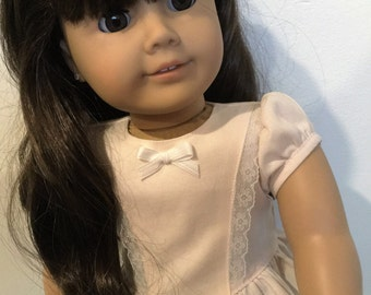 Pale pink ruffle  blouse fits American girl dolls