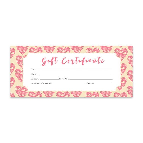 Heart hearts pink hearts gift certificate download premade heart hearts pink hearts gift certificate download premade gift certificate template printable love coupon blank gift certificate from cafeink on yadclub Choice Image