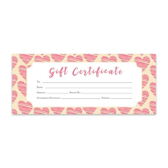 heart hearts pink hearts gift certificate download