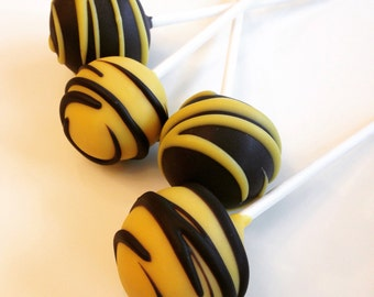 GLUTEN FREE Cake Pops Gourmet Solid with drizzle stripes custom made to order with high quality premium ingredients