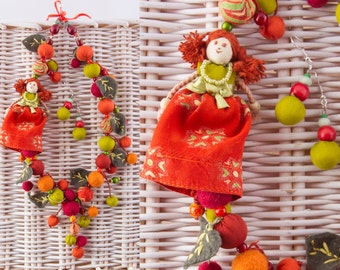 Doll Necklace&Earrings in Terra Cotta Colors, Terra Cotta Necklace, Terracota Necklace, Terracotta Jewelry Set
