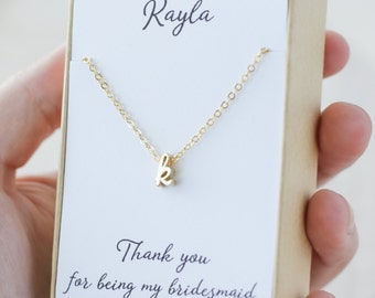 Bridesmaid initial necklace - Cursive initial necklace gold - Personalized bridesmaid jewelry