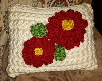 hand crocheted flower pillow