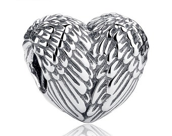 Heart Wing Charm 925 Sterling Silver fit Pandora Bracelet- Angelic Feathers Threaded Hearts Charm Bead.Stocking Stuffer