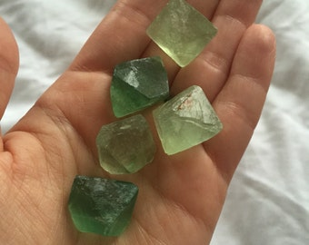 5 Rough Green Fluorite Octahedrons