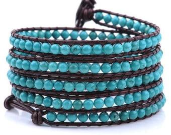 Turquoidr Stone Leather Wrap Braceket