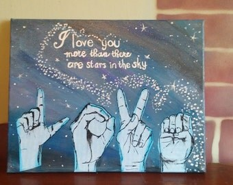 Sign Language Mixed Media on canvas ASL Love acrylic painting Mixed media deaf art 11x14 canvas