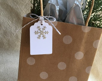 6 Silver Glitter Snowflake Gift Tags - Set of 6 on White Cardstock