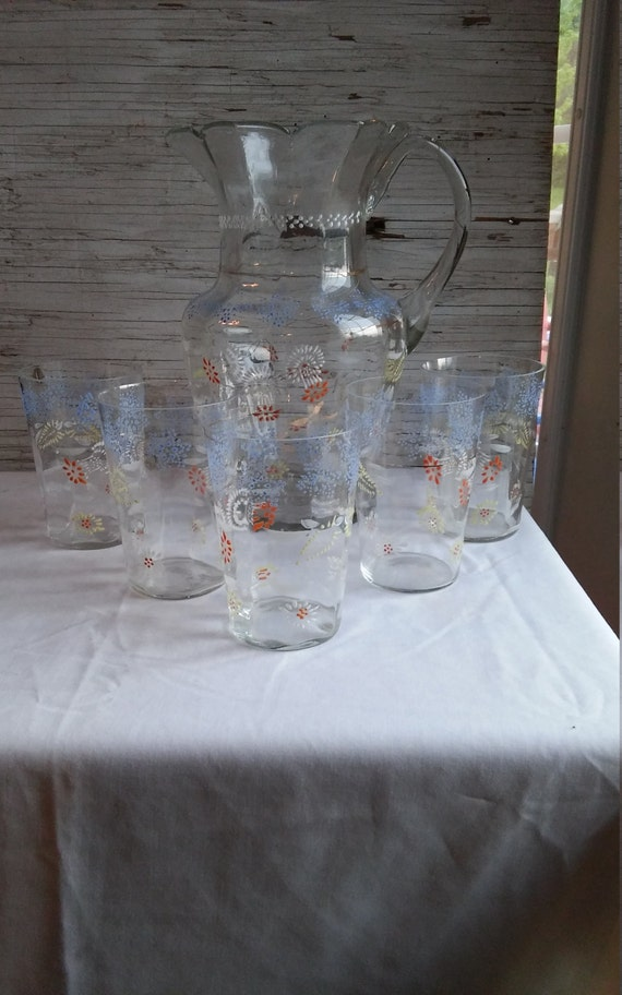 Vintage 1930s or Earlier Hand Painted Lemonade Pitcher and 5 Matching Glasses.  The Pitcher is Perfect.  All 5 glasses have flea bites.