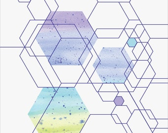 Watercolour hexagons digital download