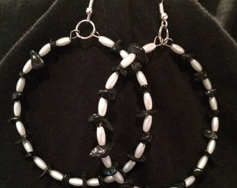 Black and white bead hoop earrings
