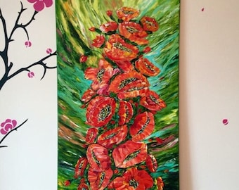 """Red poppy painting """"Poppy Extravaganza"""", original vertical poppy oil painting, oil on canvas 60x100cm, palette knife"""