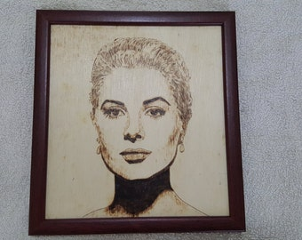 Grace Kelly pyrography portrait