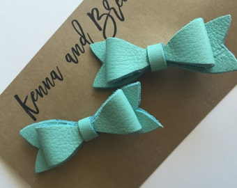 Handmade Leather Piggy Tail Bows
