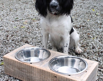 Reclaimed pallet timber dog bowl stand, Wooden pet feeder with two stainless steel bowls