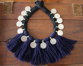 Vintage Tribal Necklace Valentine's gift Tassels and Coins Afghan Kuchi Nec Banjara Coins Bedouin Nomadic Necklace Boho Gypsy Hippy Necklace