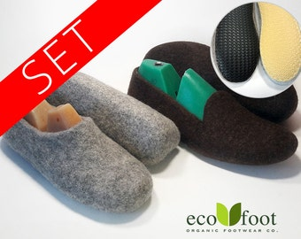 Felt wool Slippers SET 1+1 Womens and Mens Felted slippers Home wool clogs Natural slippers is not painted wool Soles non-slip