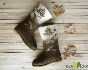 Womens felted boots Valenki Felt wool boots Winter felted shoes natural brown white Felted shoes ecofriendly organic wool Winter Women shoes