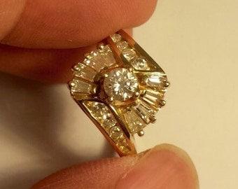 14K Yellow Gold Diamond Ring, Size 6