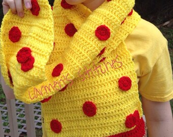 Pizza Scarf - yummy - pizza fanatic - lover - crust - handmade - crochet - non-edible clothing - funny - comfortable - warm - winter - fall