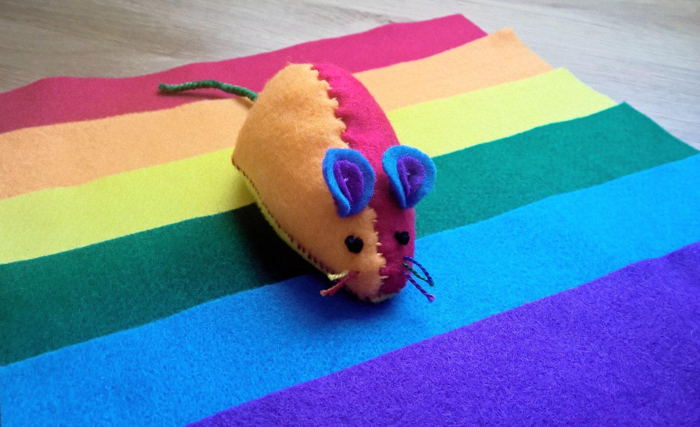Blue Mouse Felt Cat Toy