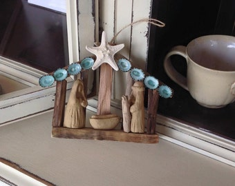 Driftwood Nativity, OBX, Local, Original decoration, Mary and Joseph, Green Limpet Shells, Christmas