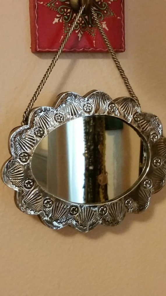 Small mirror vintage decor silver frame by twirlinggypsy for Small silver mirror