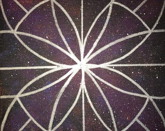 Mandala Galaxy - 6x6 Canvas Board - Blacklight Reactive! - FREE SHIPPING