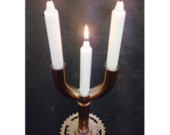 Candelabra made of recycled bike