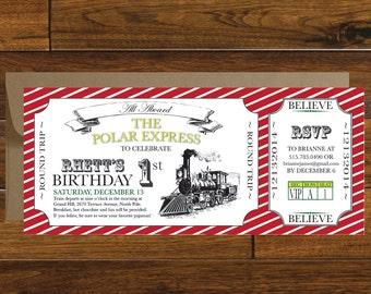 Polar Express Train Ticket Birthday Invitation